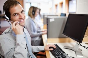 Assistant using a headset in a call center